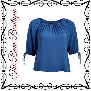 Plus Size Denim Blue Off Shoulder Top